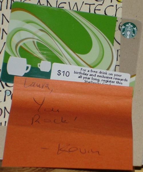 Note and gift card enclosed with my new client's first payment!