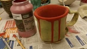 It's taking time and practice to get used to glazes that go on looking like this but coming out like next photo!